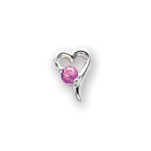 Sterling Silver Pink CZ Heart Post Earrings