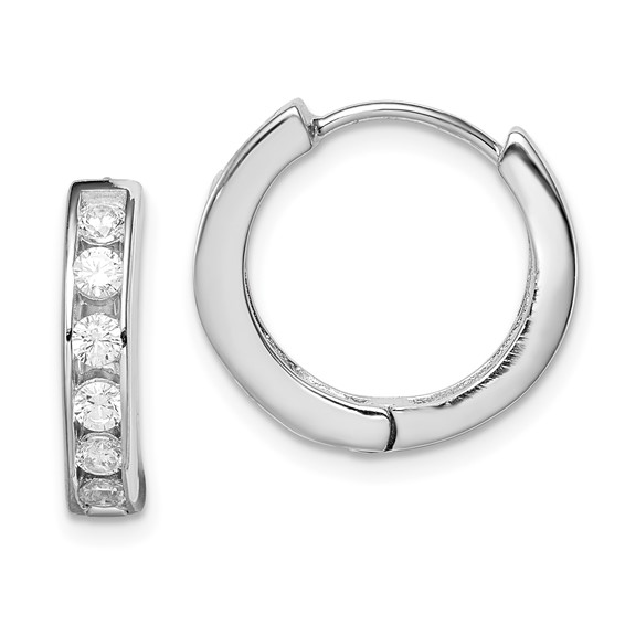 Sterling Silver 9/16in CZ Hoop Earrings