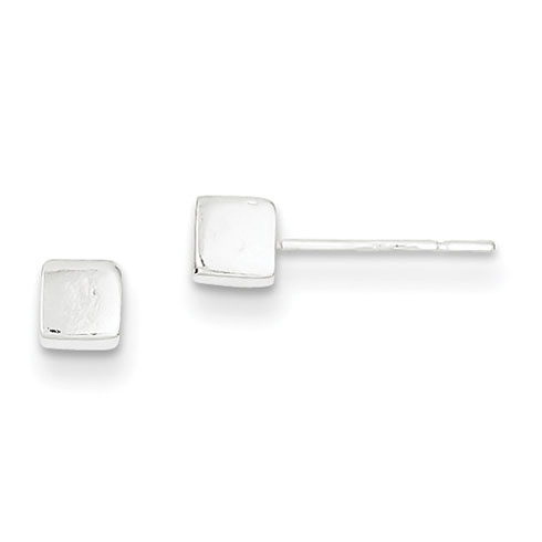 Sterling Silver Polished 4mm Square Earrings