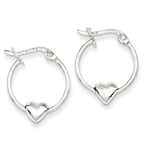 Sterling Silver 5/8in Heart Hoop Earrings