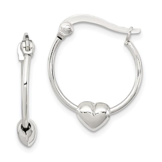 Sterling Silver 5/8in Heart Hoop Earrings