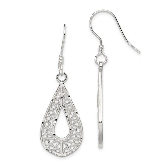Sterling Silver Filigree Teardrop Earrings 1 1/2in