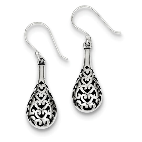 Sterling Silver Antiqued Fancy Teardrop Dangle Earrings