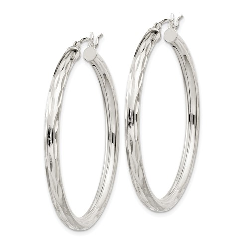 1 5/8in Diamond-cut Satin Hoop Earrings