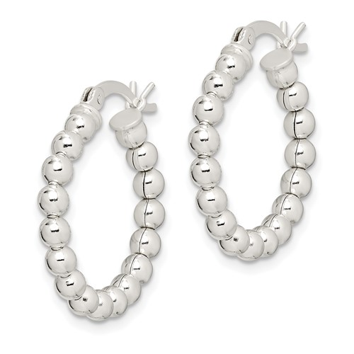7/8in Beaded Hoop Earrings - Sterling Silver
