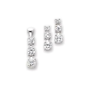 Sterling Silver 3 Stone CZ Earring & Pendant Set