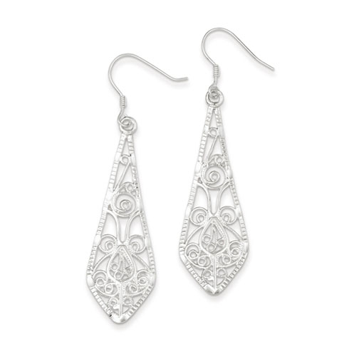Sterling Silver Pointed Filigree Drop Earrings 2in