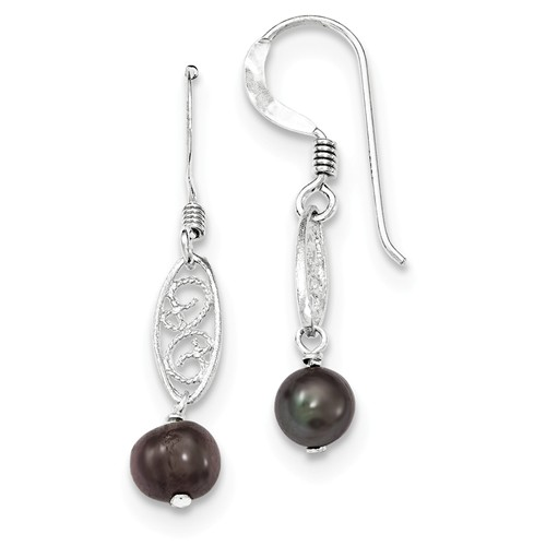 Sterling Silver Black Cultured Pearl Filigree Dangle Earrings