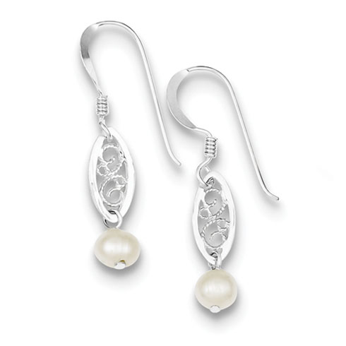 Sterling Silver White Cultured Pearl Filigree Dangle Earrings