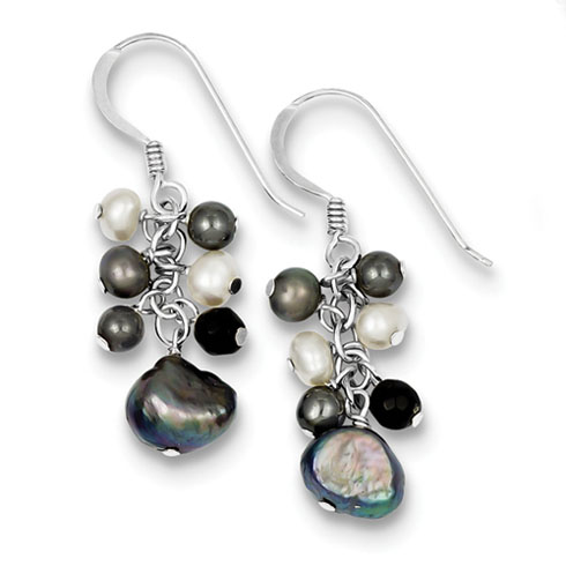 Sterling Silver Gray Cultured Pearls & Onyx Dangle Earrings