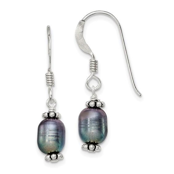 Sterling Silver 1in Black Cultured Pearl Dangle Earrings