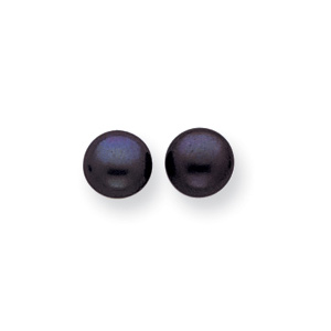 Sterling Silver 7.75mm Black Cultured Pearl Button Earrings