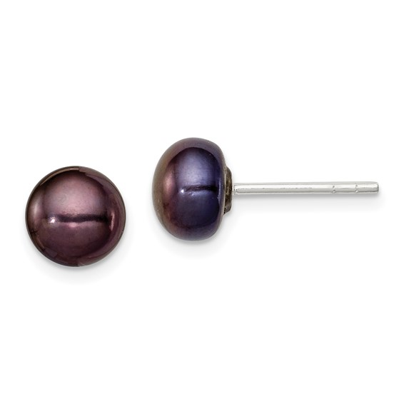 Sterling Silver 6.5mm Black Cultured Pearl Button Earrings