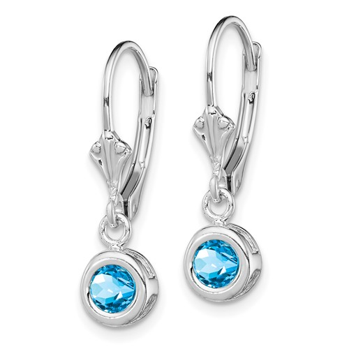 Sterling Silver 5mm Round Blue Topaz Leverback Earrings