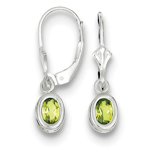 Sterling Silver 6x4mm Leverback Oval Peridot Earrings