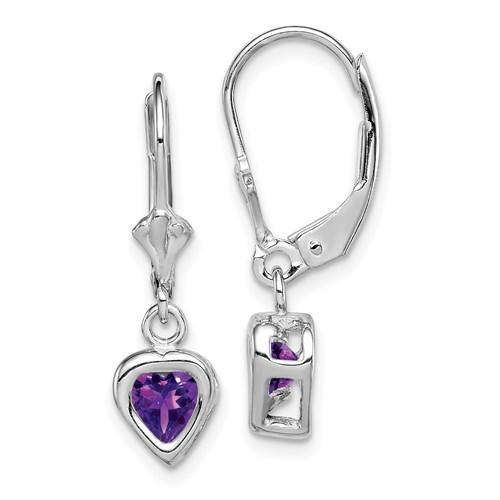 Sterling Silver 5mm Heart Amethyst Leverback Earrings