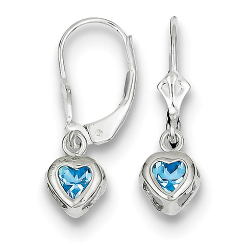 5mm Heart Blue Topaz Leverback Earrings Sterling Silver