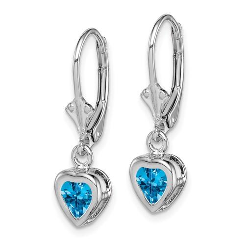 5mm Heart Blue Topaz Leverback Earrings Sterling Silver