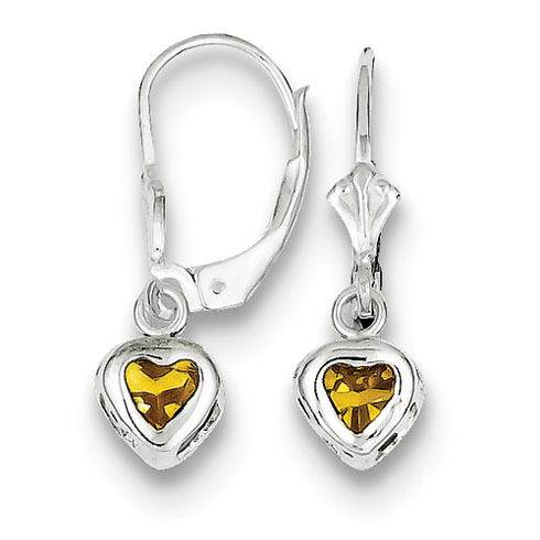Sterling Silver 5mm Heart Citrine Leverback Earrings