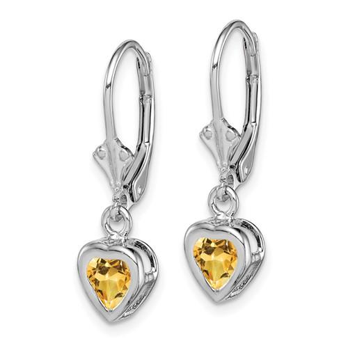 Sterling Silver 5mm Heart Citrine Leverback Earrings