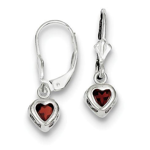 Sterling Silver 5mm Heart Garnet Leverback Earrings Qe2046ga