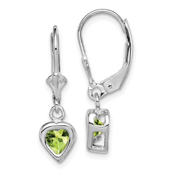 Sterling Silver 5mm Heart Peridot Leverback Earrings