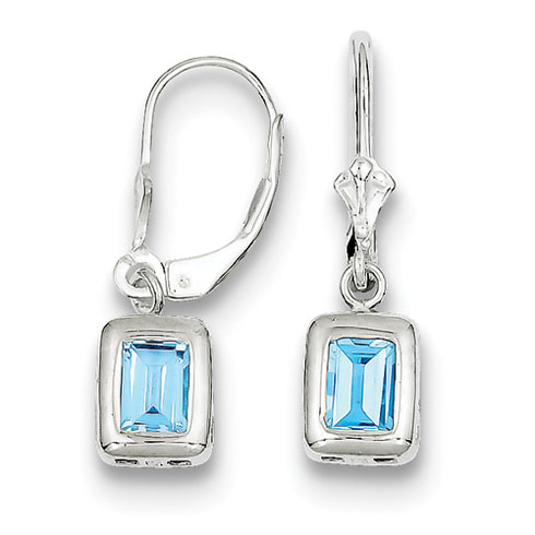 7x5mm Emerald Cut Blue Topaz Earrings - Sterling Silver