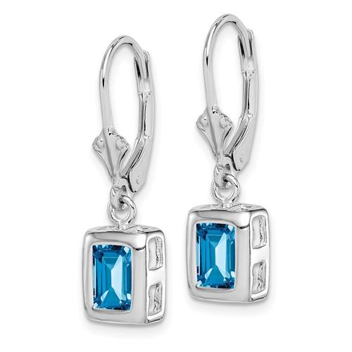 7x5mm Emerald Cut Blue Topaz Earrings - Sterling Silver
