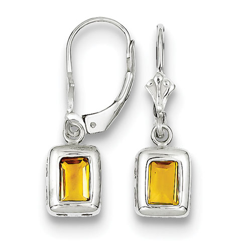 Sterling Silver 7x5mm Emerald Cut Citrine Leverback Earrings