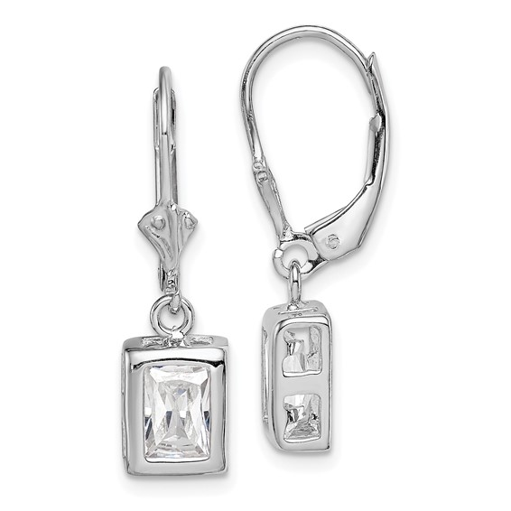 Sterling Silver 7x5mm Emerald Cut CZ Leverback Earrings