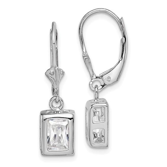 Sterling Silver 7x5mm Emerald Cut CZ Leverback Earrings