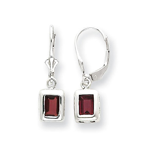 Sterling Silver 7x5mm Emerald Cut Garnet Leverback Earrings