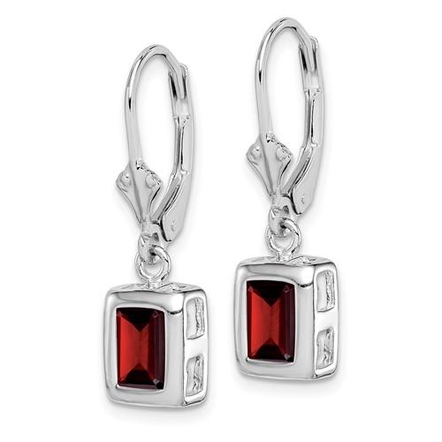 Sterling Silver 7x5mm Emerald Cut Garnet Leverback Earrings