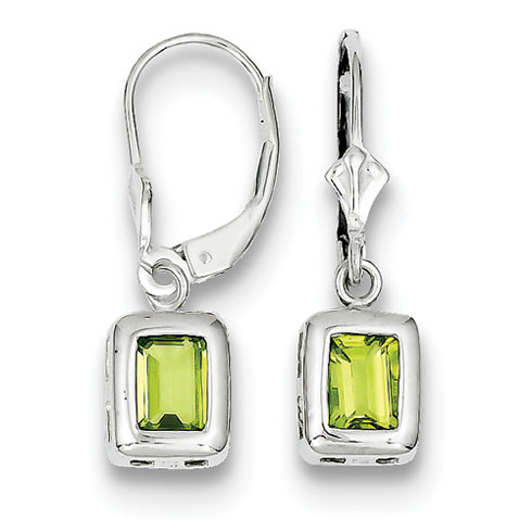 Sterling Silver 7x5mm Emerald Cut Peridot Earrings