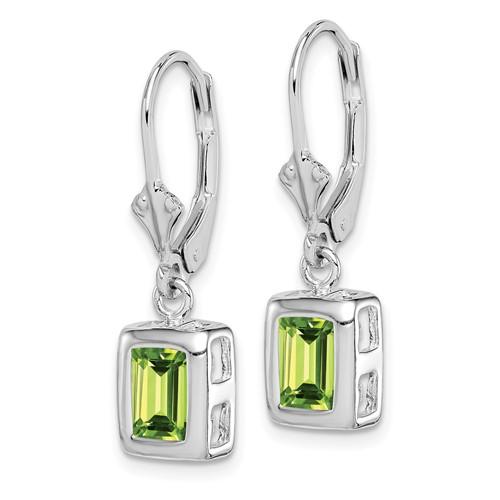 Sterling Silver 7x5mm Emerald Cut Peridot Earrings