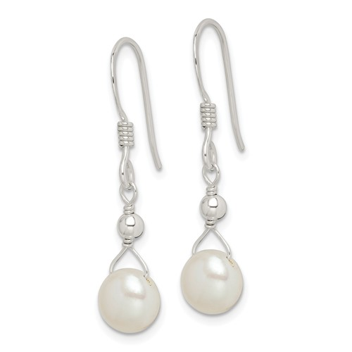 Sterling Silver 7mm Freshwater Culturled Pearl Dangle Earrings