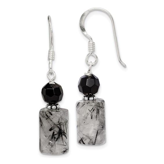 Sterling Silver Black Crystal & Rutilated Quartz Earrings