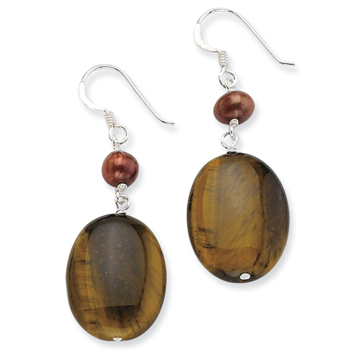 Sterling Silver Tiger Eye and Freshwater Cultured Gold Pearl Earrings