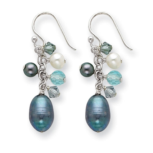Sterling Silver Blue Crystals Cultured Peacock White Pearl Earrings