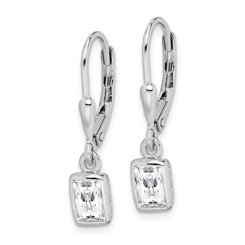Sterling Silver Emerald-cut Cubic Zirconia Leverback Earrings