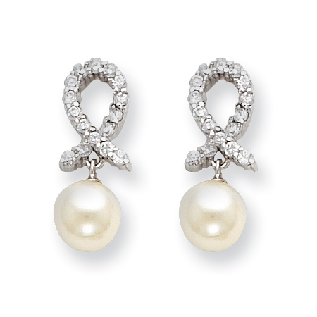 Sterling Silver Ribbon CZ Freshwater Cultured Pearl Earrings