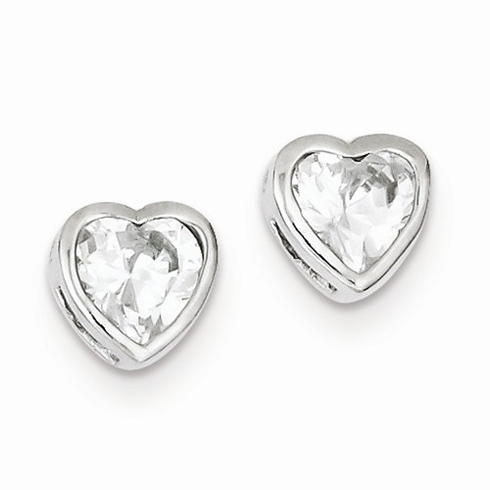 Sterling Silver 6mm Cubic Zirconia Heart Bezel Earrings