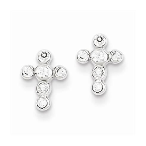 Sterling Silver Cubic Zirconia Bezel Cross Earrings