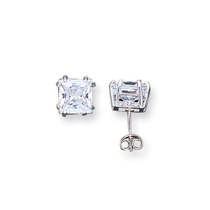 8mm CZ Stud Earrings - 8-Prong