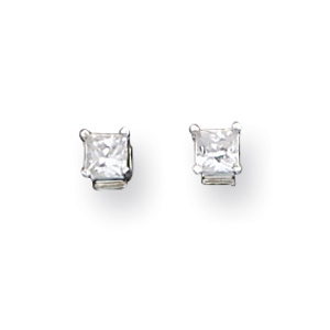 Sterling Silver Kid's 3mm CZ Princess Stud Earrings