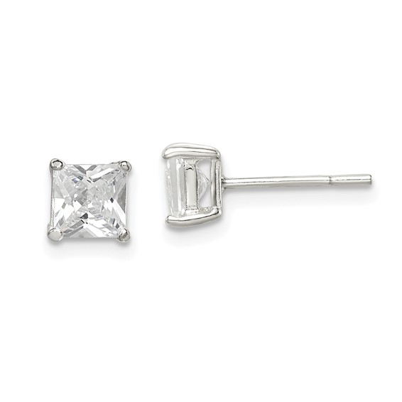 Sterling Silver 5mm CZ Princess Stud Earrings