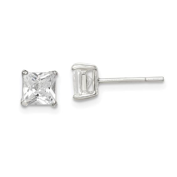 5mm CZ Princess Stud Earrings