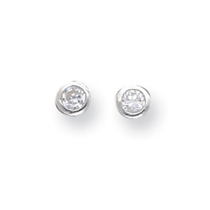 Sterling Silver 4mm CZ Round Bezel Stud Earrings