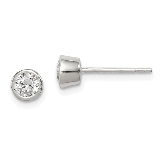 Sterling Silver 4mm CZ Round Bezel Stud Earrings