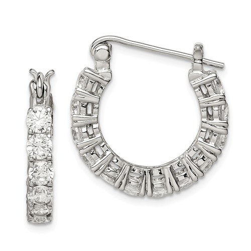 Sterling Silver Fancy CZ Hoop Earrings 3/4n